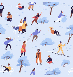 design seamless pattern with people on snow on vector image