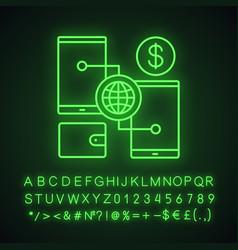 Digital wallet neon light icon vector