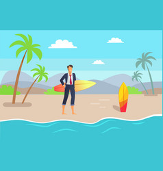Distant work and seaside vector