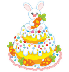 Easter cake with a bunny vector