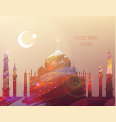 eid al-fitr greeting card watercolor mosque vector image