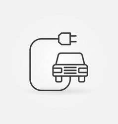 Electric vehicle with plug concept line icon vector
