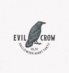 evil crow party vintage style halloween logo or vector image