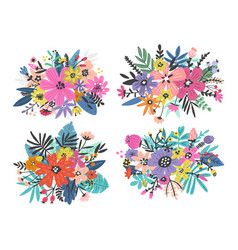 exotic flowers set vector image