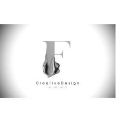 F letter design brush paint stroke black f letter vector