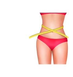 Female body with measuring tape Diet concept vector