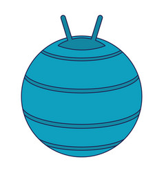 Fitness ball equipment isolated blue lines vector