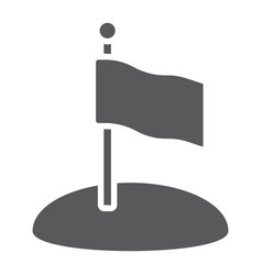 Flag glyph icon game and pointer flagpole sign vector