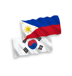Flags south korea and philippines on a white vector