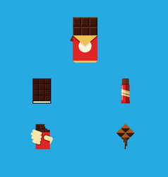 Flat icon cacao set of chocolate bar dessert vector