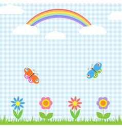 Flowers butterflies and rainbow vector