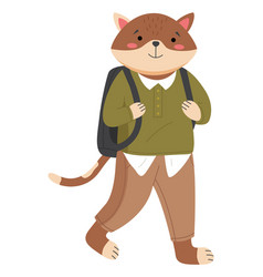 Funny cartoon animal student isolated a cat vector