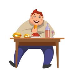 Gluttony man eating people bad habits vector