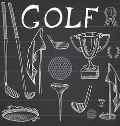 Golf sport hand drawn sketch set with clubs vector