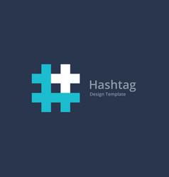 hashtag symbol cross plus medical logo icon vector image