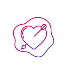 Heart with arrow icon line vector