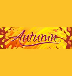 horizontal bright orange banner hello autumn vector image