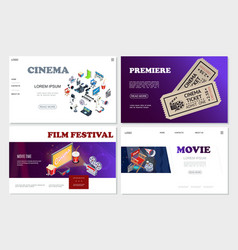 isometric cinema websites set vector image