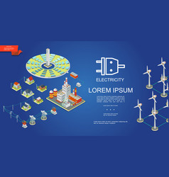 Isometric electricity production concept vector