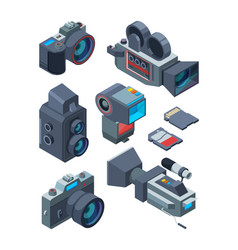 Isometric video and photo cameras pictures vector