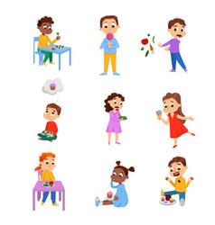 Kids choosing between healthy and unhealthy food vector