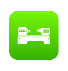 lathe machine icon digital green vector image