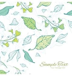 Lineart spring leaves frame corner pattern vector