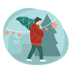 male character carrying pine tree for christmas vector image