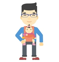 Man holding baby in sling vector