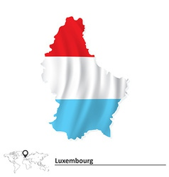 Map of Luxembourg with flag vector
