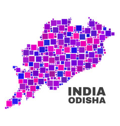 mosaic odisha state map of square elements vector image
