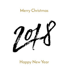 new year 2018 christmas greeting card calligraphy vector image