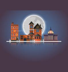 Night city landscape and dark urban skyline vector