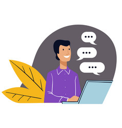 office working communicating and chatting online vector image