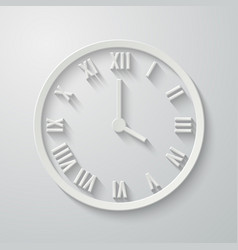 paper flat clock icon with shadow vector image