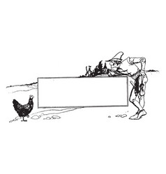 Pictorial banner have man and hen vintage vector