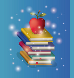 pile books study with apple vector image