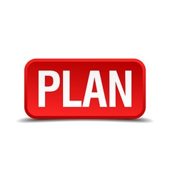 Plan red 3d square button isolated on white vector