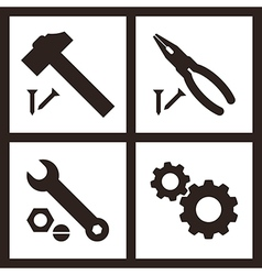 Pliers hammer wrench and gears icons vector