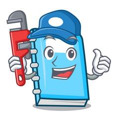 Plumber education mascot cartoon style vector
