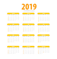 Printable calendar 2019 simple template vector