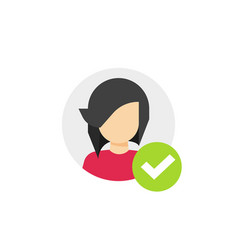 profile with checkmark icon flat cartoon vector image