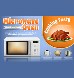 Promotion banner with white microwave oven vector