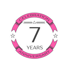 realistic seven years anniversary celebration logo vector image