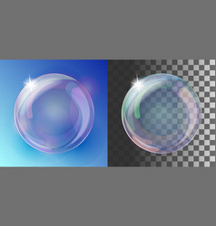 realistic soap bubble with rainbow colors vector image