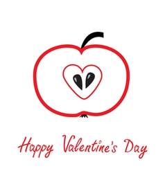 Red apple with heart shape Happy Valentines Day vector
