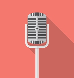 Retro microphone flat icon vector