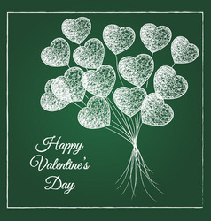 Romantic chalked heart shape balloons bouquet vector