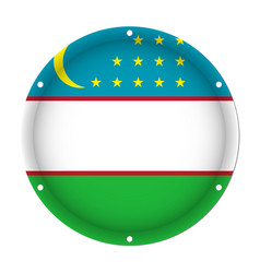 Round metallic flag of uzbekistan with screw holes vector