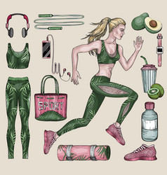running woman and sports equipment set vector image